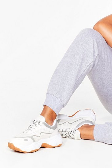 White Run to You Chunky Two-Tone Sneakers