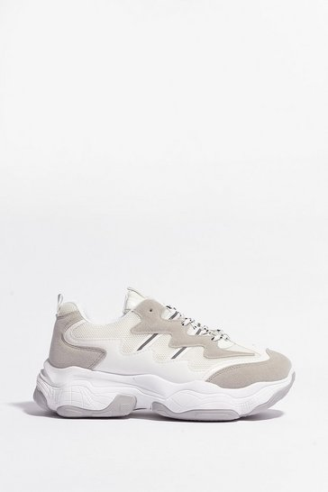 White Bottoms Up Two-Tone Chunky Sneakers