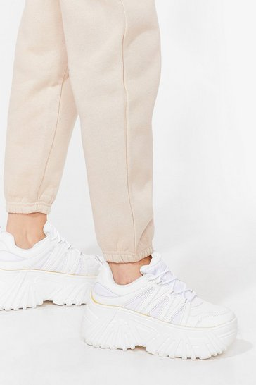 White Are You a Nineties Baby Faux Leather Chunky Sneakers