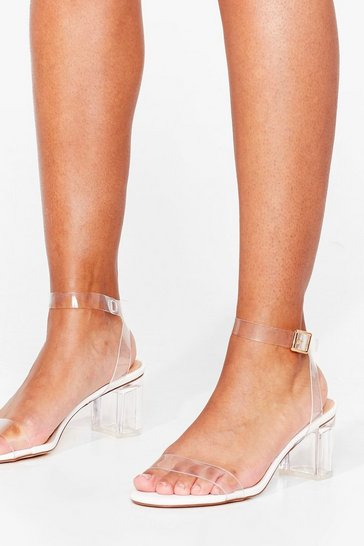 White Make Thing's Clear Block Heel Sandals