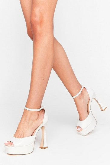 White We Couldn't Flare Less Platform Heeled Sandals