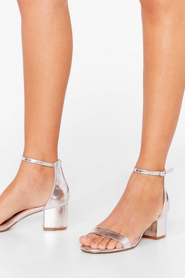 Silver Your Time to Shine Metallic Heeled Sandals
