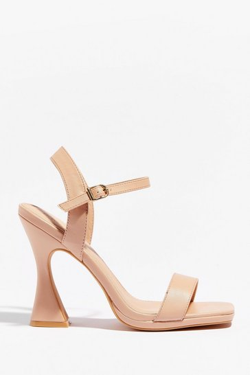 Nude Flares No Going Back Faux Leather Strappy Heels
