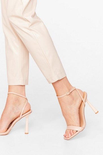 Nude Strappy to Be Back Faux Leather Stiletto Heels