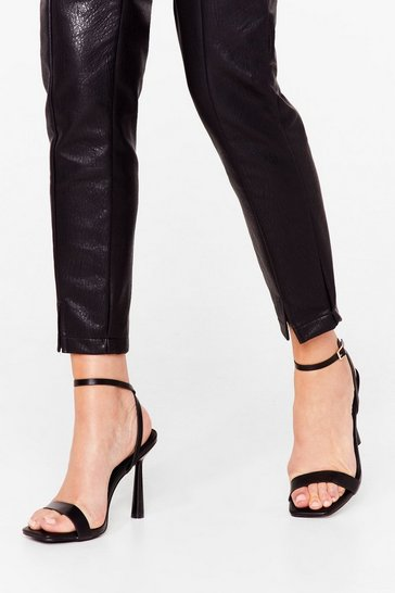 Black Stand the Test of Time Faux Leather Strappy Heels