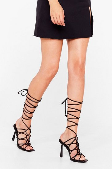 Black Lace Get to It Strappy Stiletto Heels
