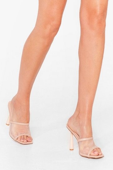 Nude Quit Meshin' Faux Leather Stiletto Mules