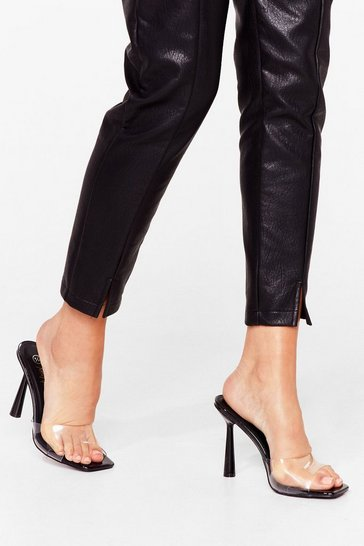 Black Made Ourselves Clear Square Stiletto Mules