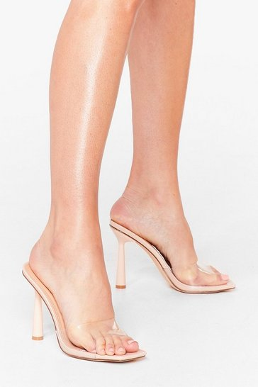 Nude Clear Your Schedule Stiletto Heeled Mules