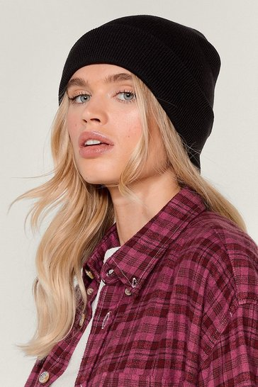 Black Hot Headed Knitted Beanie Hat