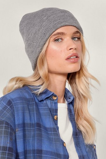 Grey Hot Headed Knitted Beanie Hat