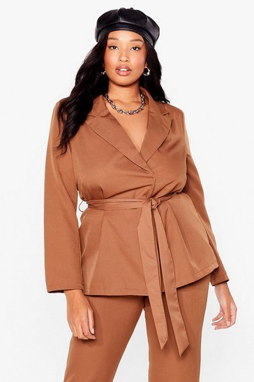 Camel Suits You Plus Belted Blazer