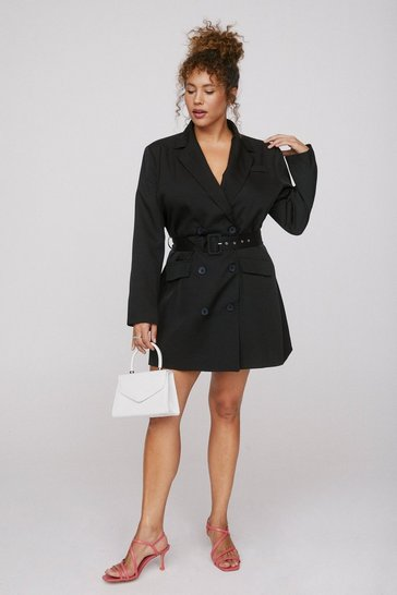 Black That's How It Works Plus Belted Blazer Dress