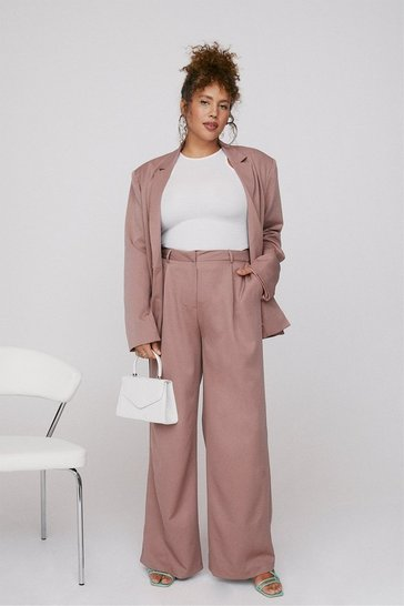 Mauve Working Week Plus Wide-Leg Trousers
