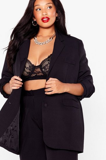 Black Plus Size Oversized Tailored Blazer