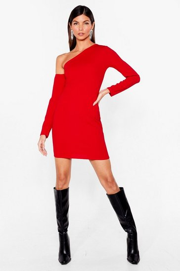 Red We're the One Shoulder Mini Dress