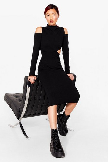 Black Cut-Out of Line Bodycon Midi Dress