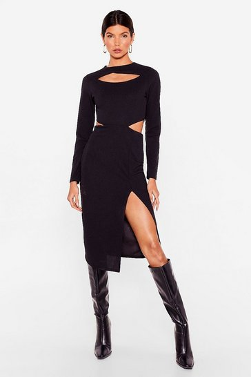 Black Address the Slit-uation Cut-Out Midi Dress
