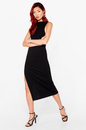 Black Tell Slit to My Face Scoop Back Midi Dress