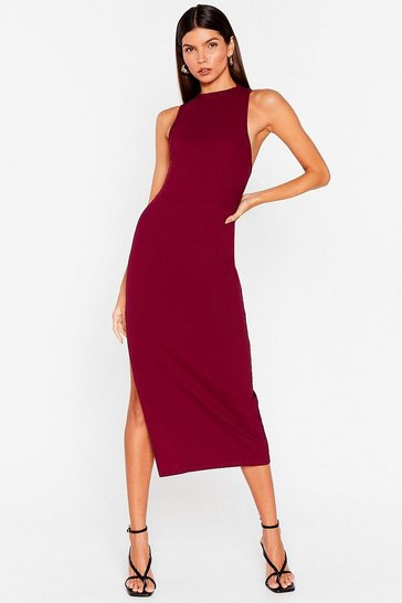 Plum Tell Slit to My Face Asymmetric Back Midi Dress