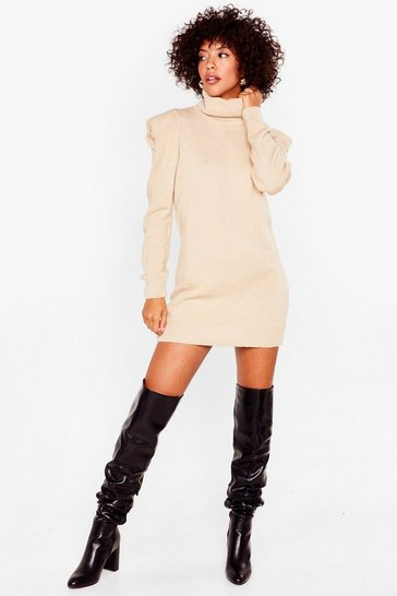 Stone Knitted Turtleneck Jumper Dress