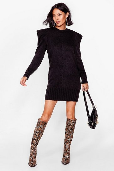 Black Power Up Knitted Mini Dress