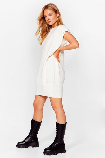 Cream You'll Knit Right in Shoulder Pad Mini Dress
