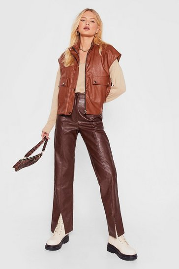 Chocolate Faux Leather Straight Leg Split Hem Pants