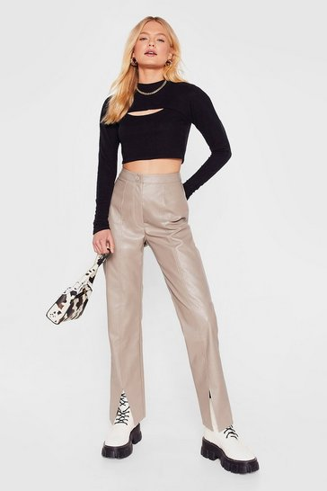 Taupe Faux Leather Straight Leg Split Hem Trousers