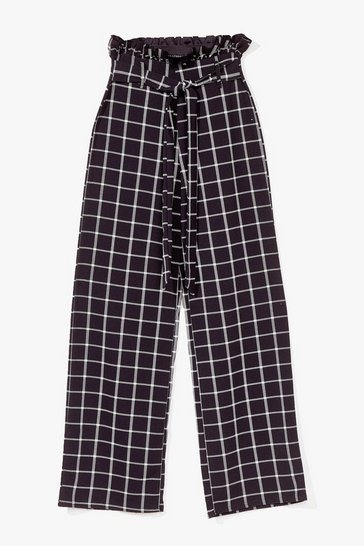 Black Grab the Check Paperbag Wide-Leg Pants