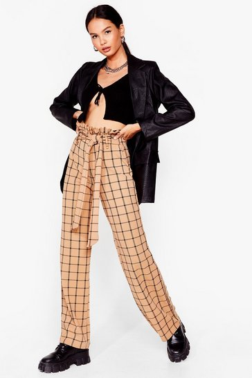 Sand Check Paperbag Wide Leg Pants