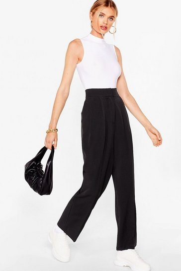 Black Pleated Straight Leg Tailored Pants