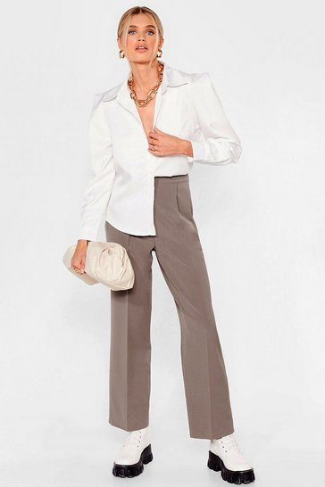 Brown Pleated Straight Leg Tailored Pants