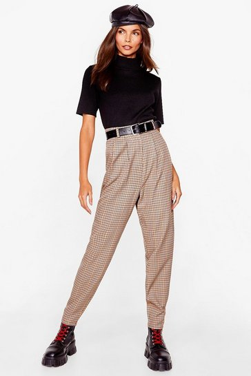 Beige Pleated Check Tapered Pants