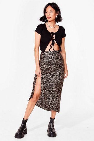 Black leopard print side split midi skirt