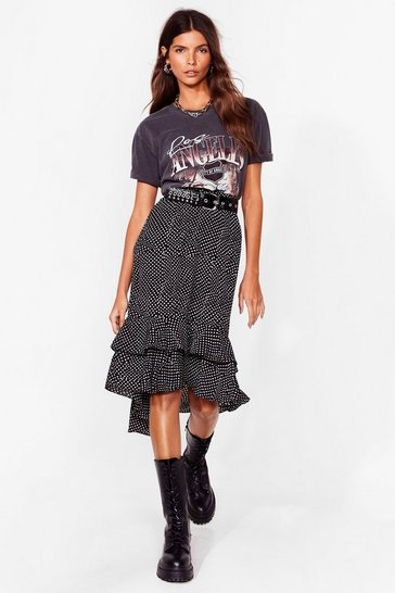 Black polka dot ruffle hem midi skirt