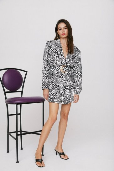 Black Wild Streak Zebra Blazer Dress