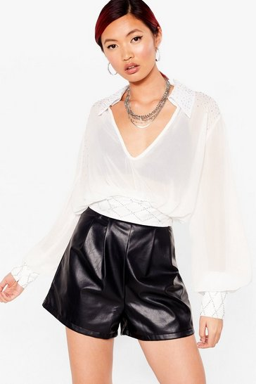 White Sheer to Stay Cropped Diamante Blouse
