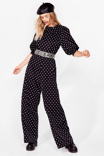 Black polka dot collar detail wide leg jumpsuit