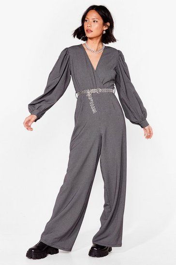 Black check puff sleeve tie waist wide leg jumpsuit