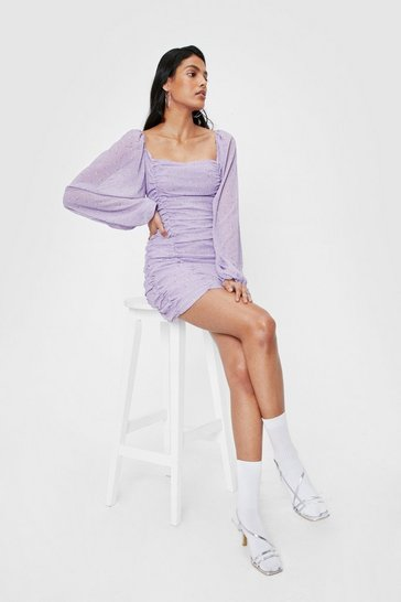 Lilac Floral Print Balloon Sleeve Ruched Mini Dress