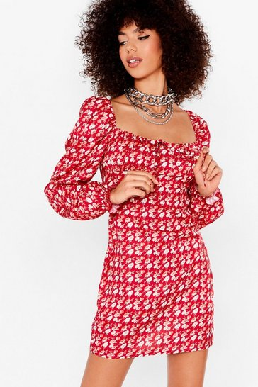 Red Floral Long Sleeve Puff Sleeve Mini Dress