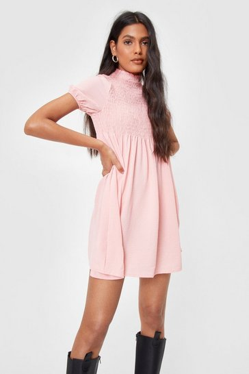 Baby pink Shirred Puff Sleeve Mini Smock Dress