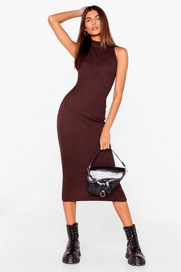 Chocolate Sleeveless High Neck Bodycon Midi Dress