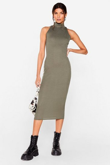 Khaki Livin' the High Life Fitted Midi Dress