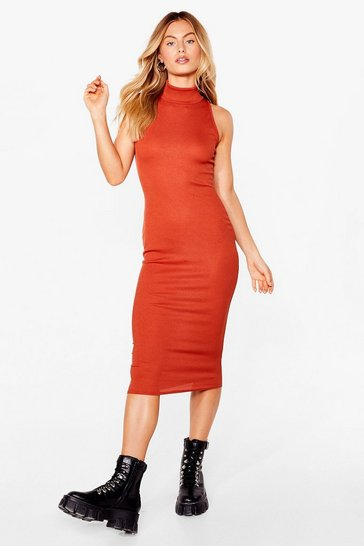 Rust Livin' the High Life Fitted Midi Dress