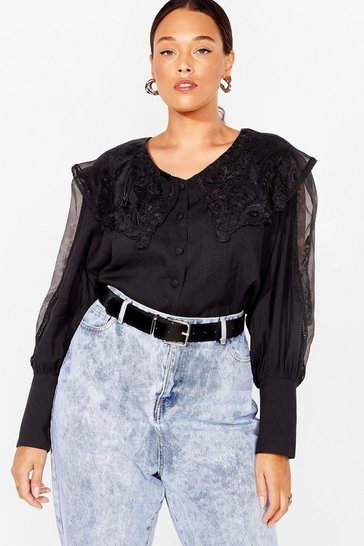 Collar Your Name Embroidered Plus Blouse, Black