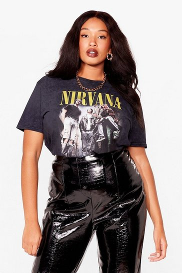 Black Nirvana Plus Graphic Band Tee