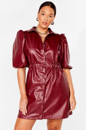 Burgundy Plus Size Faux Leather Shirt Dress