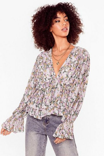 Lilac It Comes Naturally Floral Pleated Blouse